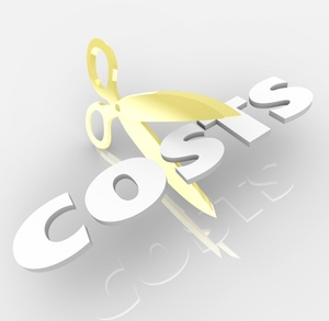The word Costs being cut by a pair of gold scissors to symbolize cost cutting and saving money by reducing prices of expenses