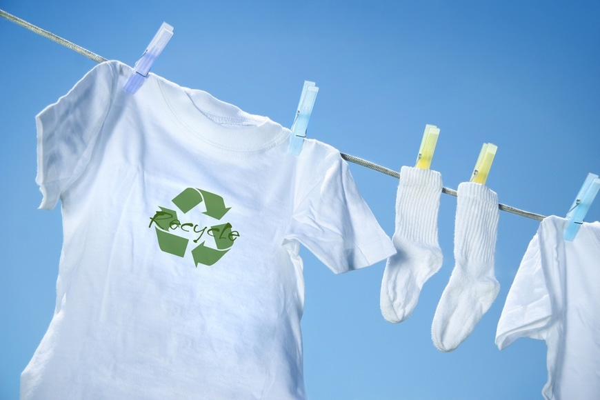 T-shirt with recycle logo drying