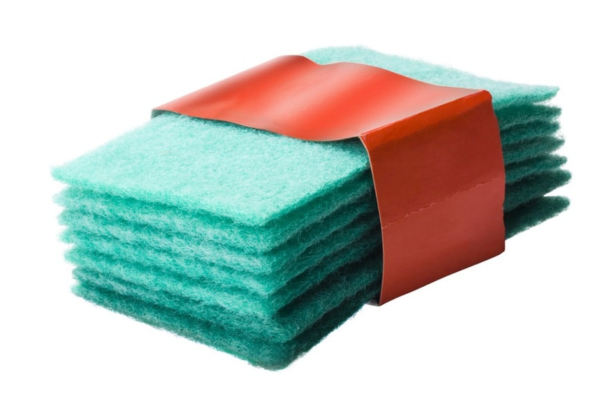 Close-up of a stack of scouring pads