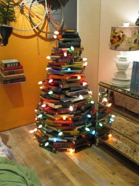Christmas Tree Made Up Of Books