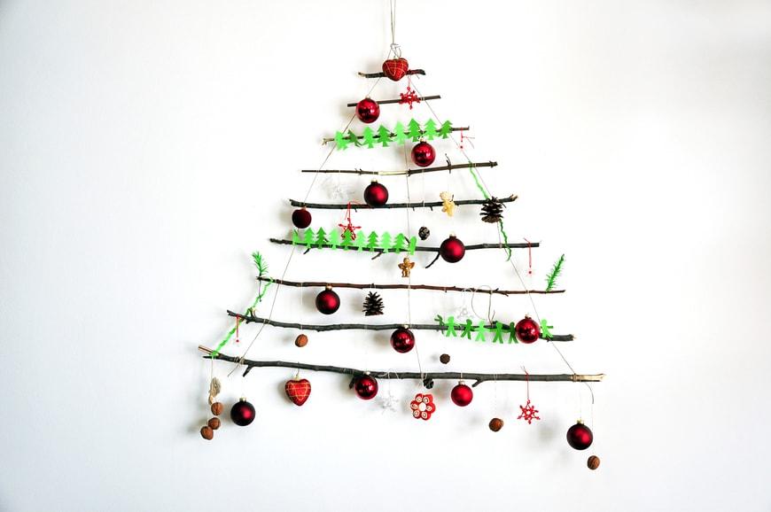 Nature friendly creative Christmas tree arrangement on white