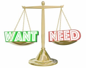 Want Vs Need Scale