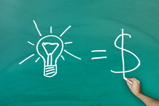 Ideas equal cash concept on green blackboard