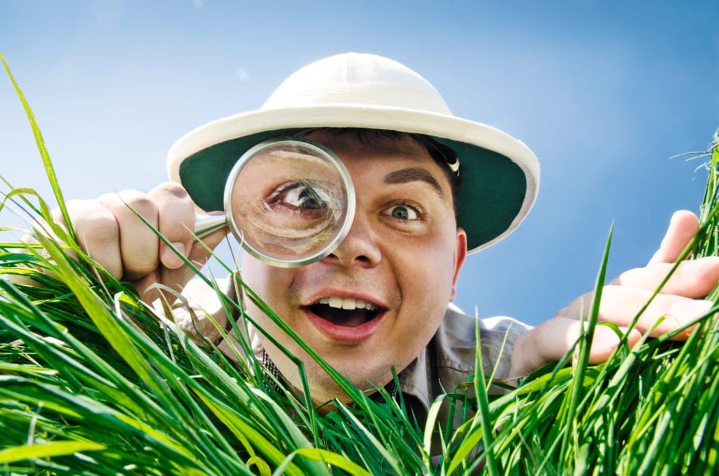 Young Man is Surprised at What He Finds in Grass when Looks through a Magnifying Glass