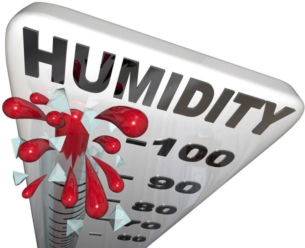 The rising humidity rate level rising on a thermometer past 100 percent to tell you of danger or uncomfortable weather conditions in the hot summer heat