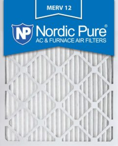 Nordic Pure 16x25x1 MERV 12 Pleated AC Furnace Air Filter in white background