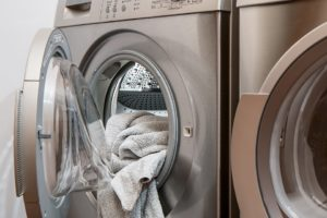 Towels placed inside the washing machine